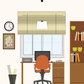 Vector interior office studio workplace illustrati flat illustration Royalty Free Stock Images