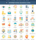 Vector International business color flat icon set. Elegant style design International business web icon.