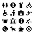 Vector international service signs icon set exit wc cafe information Stock Photo