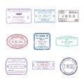 Vector international travel visa stamps for passport set Royalty Free Stock Photo