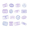 Vector international travel visa stamps set Royalty Free Stock Photo