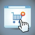 Vector internet shopping concept cart and browser window Royalty Free Stock Image