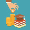 Vector invest in education concept flat style stack of coins and book with university hat Stock Images