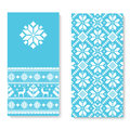 Vector invitation card with folk pattern ornament. Ethnic New Year blue ornament with pine trees and deers.