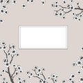 Vector invitation card with sakura blossoms. Outlined illustration.