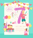 Vector invitation design template for birthday party with bd cake, garlands, pinata, gifts, balloons, big 7 and happy kids charac