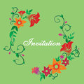 Vector invitation with flower ornament green