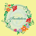 Vector invitation with flower ornament yellow