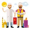 Vector Islam. Islamic Prayers. Flat style colorful Cartoon illustration.