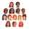 Vector isolated avatars indian black asian and latino women Stock Photos