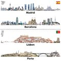 Vector illustrations of Madrid, Barcelona, Lisbon and Porto city skylines. Maps and flags of Spain and Portugal Royalty Free Stock Photo