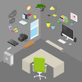 Vector isolated isometric office objects and furniture
