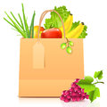 Vector isolated paper bag with vegetables Royalty Free Stock Photo