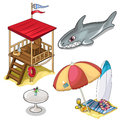 Vector isolated set of beach rest attributes