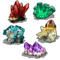 Vector isolated set of five uncut precious mineral