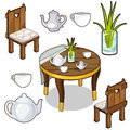 Vector isolated set of wooden kitchen furniture
