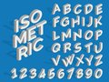 Vector isometric alphabet and numbers. Funky 3d font Royalty Free Stock Photo