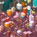 Vector isometric city. Cartoon town district. Street Intersection road 3d. Very high detail projection. Cars end