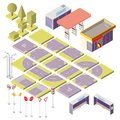Vector isometric city constructor with 3d elements Royalty Free Stock Photo