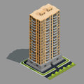 Vector isometric 3D illustration of modern urban building