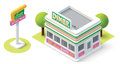 Vector isometric diner building icon Royalty Free Stock Photography