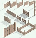 Vector isometric fence set construction kit with shadow Royalty Free Stock Photography
