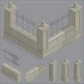 Vector isometric fence set construction kit stone with shadow Stock Photo