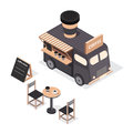 Vector isometric food trucks.