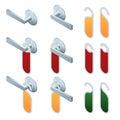 Vector isometric hotel handles with hanging signs. Set of Blank Paper Plastic Door Handle Lock Hangers on