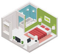 Vector isometric hotel room icon detailed representing small interior Stock Images