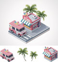 Vector isometric ice cream store and truck Stock Photo