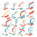 Vector isometric icons of billboards, advertising banners, road signs, direction signs