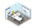 Vector isometric illustration of office working place, 3d flat interior design Royalty Free Stock Photo