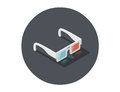 Vector Isometric illustration of white 3d glasses, stereo cinema icon Royalty Free Stock Photo
