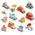 Vector isometric illustrations cars fast delivery of food and food trucks, street fast food carts