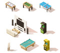 Vector isometric low poly games set