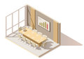 Vector isometric low poly office conference room