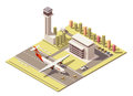 Vector isometric minimalistic low poly airport terminal building with control tower