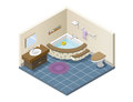 Vector isometric modern bathroom, set of bath furniture Royalty Free Stock Photo