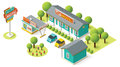 Vector isometric motel building icon Royalty Free Stock Images