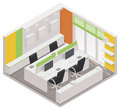Vector isometric office room icon detailed representing interior Stock Images