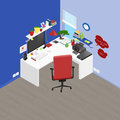 Vector isometric office workplace with objects and furniture. De