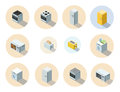 Vector isometric set of household appliances icon, 3d flat interior design.