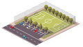 Vector isometric soccer football pitch for city map Stock Photo