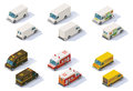 Vector isometric step vans set of the different types of front end rear view Stock Photos