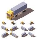 Vector isometric truck with tilt box semi-trailer icon set