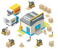 Vector isometric warehouse building icon Stock Image