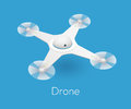 Vector isometric white quadcopter drone