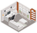 Vector isometric working room icon detailed representing interior Stock Image