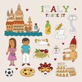 Vector Italy Doodle Art for Travel and Tourism Royalty Free Stock Photo